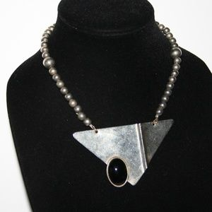 """Stunning vintage and onyx necklace 17"""""""